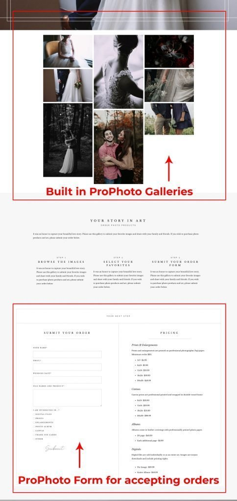 Example of Mark Brand Boutique layout for built in ProPhoto 7 client gallery setup.