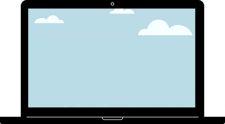 Illustration of a laptop with blue sky and clouds to represent what a website hosting environment is.